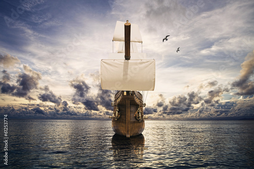 Canvas Prints Ship The ancient ship in the sea