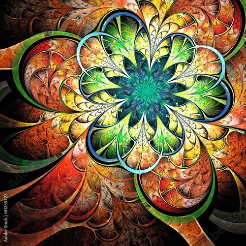 Colorful fractal flower, digital artwork