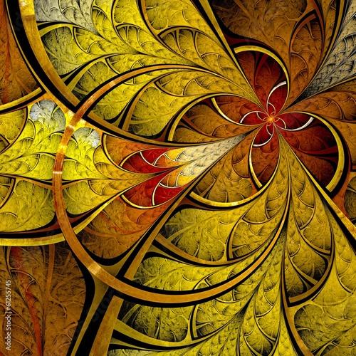 fraktal-ciemnozolty-i-pomaranczowy-kwiat