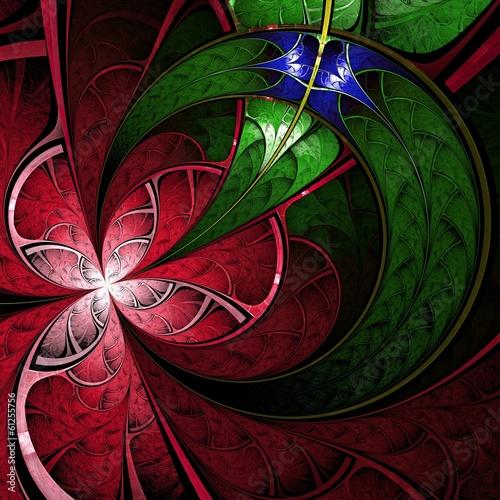 ciemny-czerwony-i-zielony-fraktal-kwiat