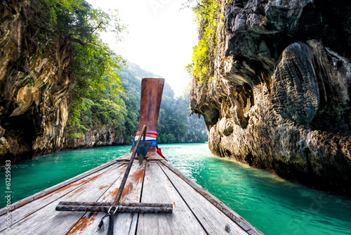 Boat trip at phi phi krabi beach in thailand Canvas Print