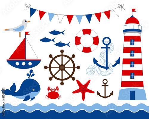 Obraz na plátně Nautical set