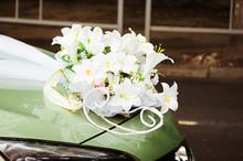 Wedding Bouquet On Wedding Car