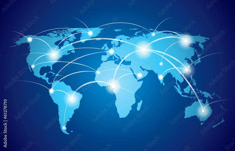 Fototapeta World map with global network