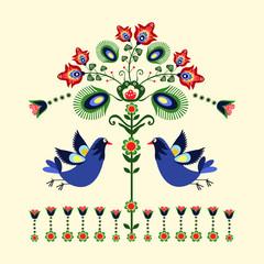 wzór haftu z ptakami