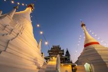 Wat Phra That Doi Kong Mu Temple Stupa In Mae Hong Son, Northern
