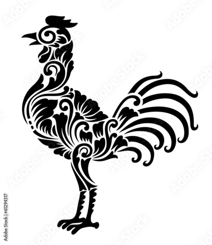 Rooster Floral Ornament Decoration