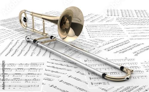 Fototapeta Trombón sobre partituras