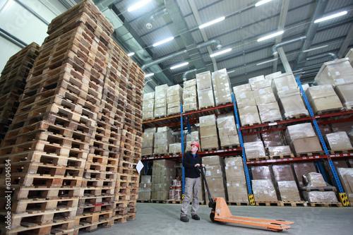 Fotografie, Obraz  Pracovník, Ruční paletový vozík, hromadu dřevěných palet ve skladu