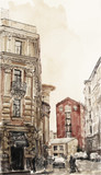 watercolor illustration of city scape. - 61315731