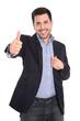 canvas print picture Erfolgreicher junger Business Mann isoliert in blau weiß