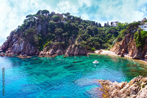 Fotografiet Summer beach. Nature and travel background. Spain, Costa Brava