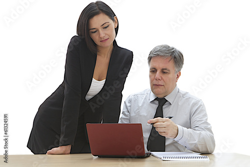 Photo  businessman have a discussion with a female colleague