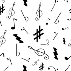Tapeta Seamless pattern with various music symbols