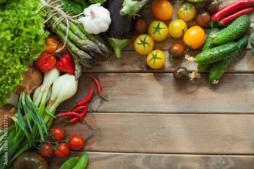 Fototapeta Vegetables on wooden table obraz na płótnie