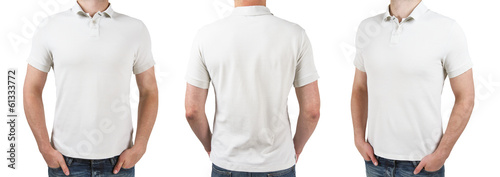 Stampa su Tela three man in white polo t-shirt
