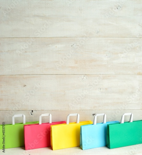 Photo  Colorful shopping paper bags