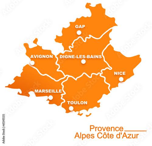 Tela  provence alpes cote d'azur région départements et villes