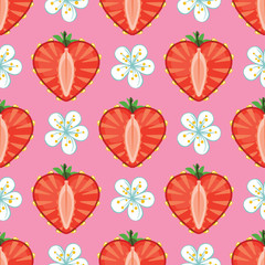 Heart of strawberry berries and flowers in seamless pattern