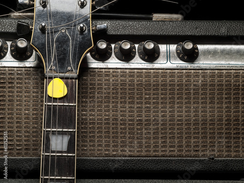 Photo Worn amp and electric guitar