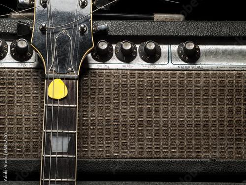 Worn amp and electric guitar Fototapeta