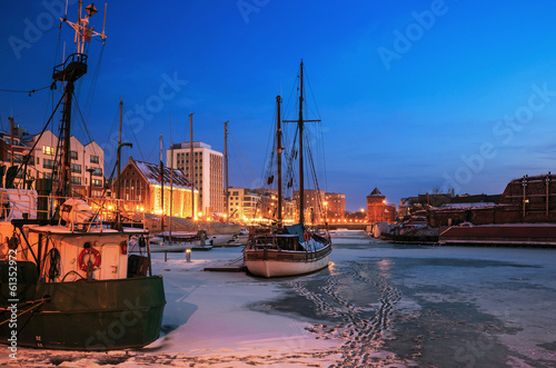 In de dag Havana Port of Gdansk in winter