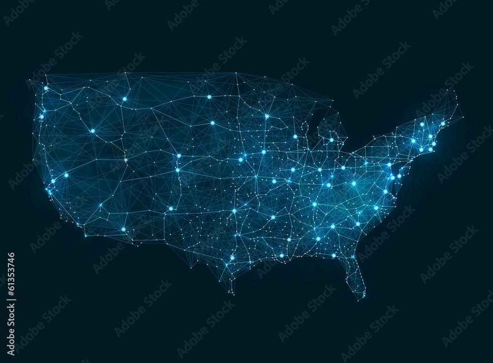 Fototapeta Abstract telecommunication network map - USA