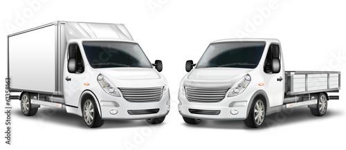 Fotografia Zwei Kleintransporter, Kastenwagen und Pritschenwagen