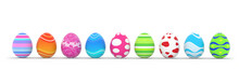 Colorful Easter Eggs In A Row