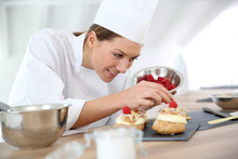 Chef Preparing Pastries For Restaurant