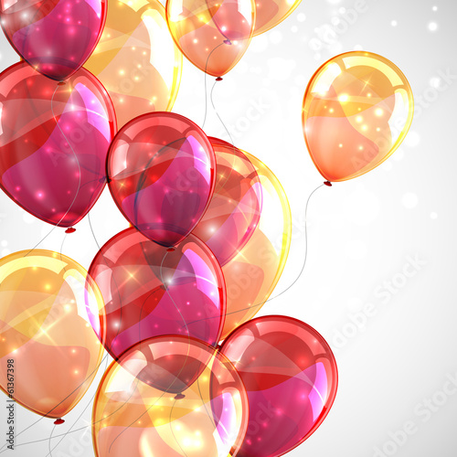 Fototapeta holiday background with multicolored balloons and sparkles