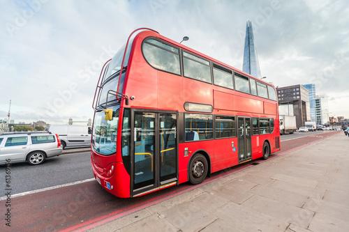 Aluminium Prints London red bus Double-Decker on London Bridge