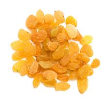 Yellow Raisins On A White Background. Macro