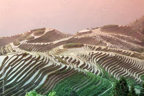 Foto auf Gartenposter Reisfelder Longji rice terraces, Guangxi province, China