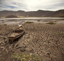 Old Boat On Dry Lake