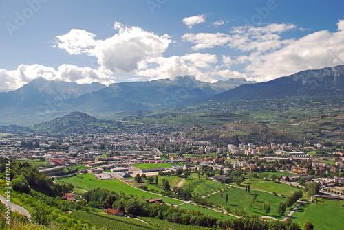 Fotografie, Obraz Sion (Sitten) , die Hauptstadt des Kantons Valais (Wallis)
