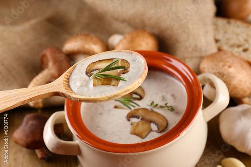 Foto auf Leinwand Gewürze 2 Mushroom soup in wooden spoon and pot,