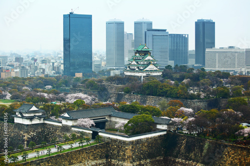 Osaka cityscape with traditional castle