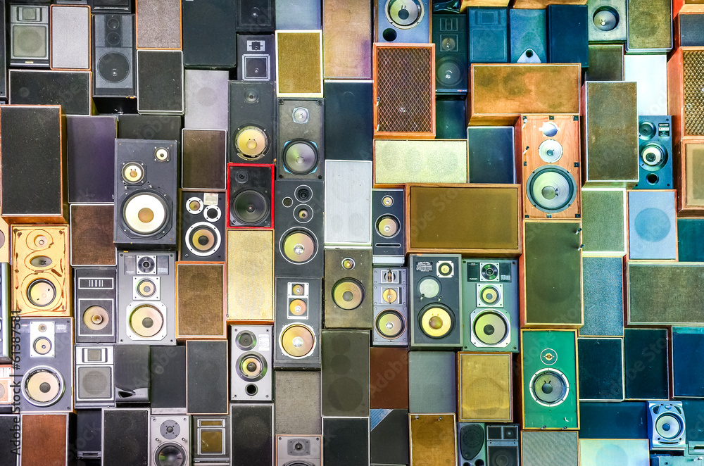 Music speakers on the wall in retro vintage style