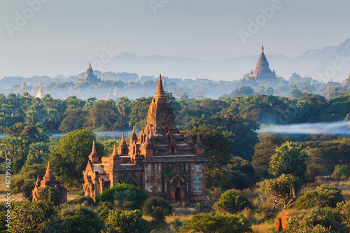 The Temples of bagan at sunrise, Bagan, Myanmar Canvas Print