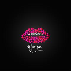 Panel Szklany Erotyka lips kiss lipstick love design background