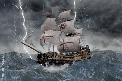 Photo 3D Segelschiff Galeone in stürmischer See