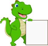 Fototapeta Dinusie - funny dinosaur cartoon holding blank sign