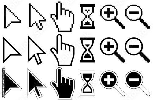 Fotografía  Pixel Cursors Icons, Mouse, Hand, Arrow, Hourglass, Magnifier Gl