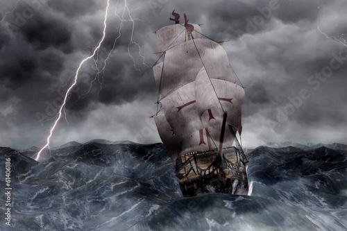 3D Segelschiff Galeone in stürmischer See Wallpaper Mural