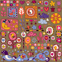colorful nature cartoon pattern
