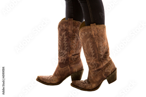 Fotografia, Obraz  Close up of a pair of cowboy boots white background