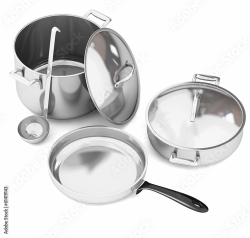 Fotografie, Obraz  Steel cookware isolated on white