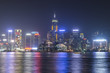 Victoria harbour at night in Hong Kong