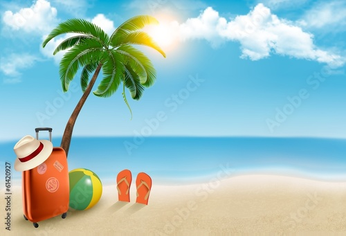 Fotografia  Vacation background. Beach with palm tree, suitcase and flip flo